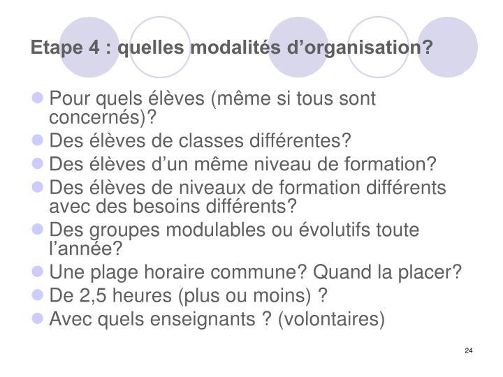 Etape 4 : quelles modalités d'organisation?