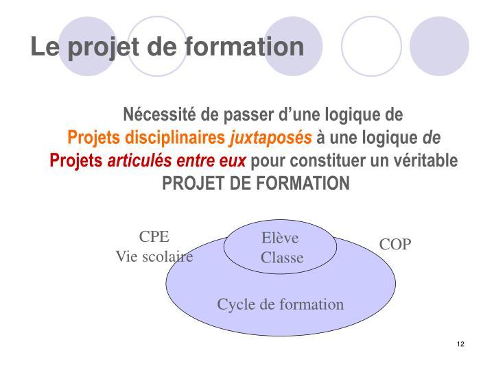 Le projet de formation