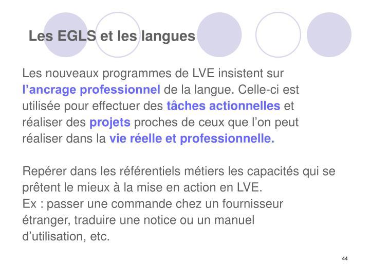 Les EGLS et les langues