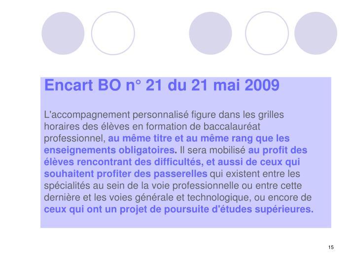 Encart BO n° 21 du 21 mai 2009