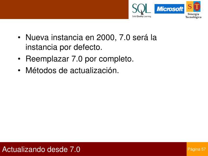 Nueva instancia en 2000, 7.0 será la instancia por defecto.