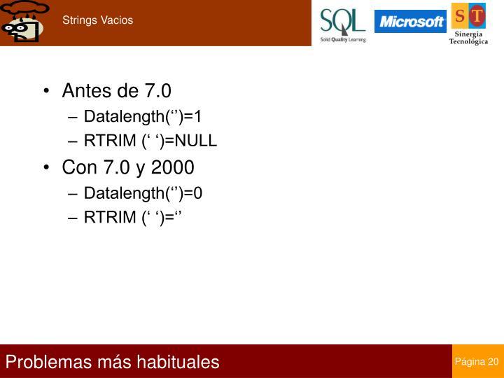 Strings Vacios