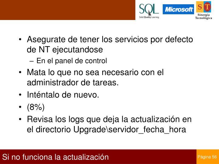 Asegurate de tener los servicios por defecto de NT ejecutandose