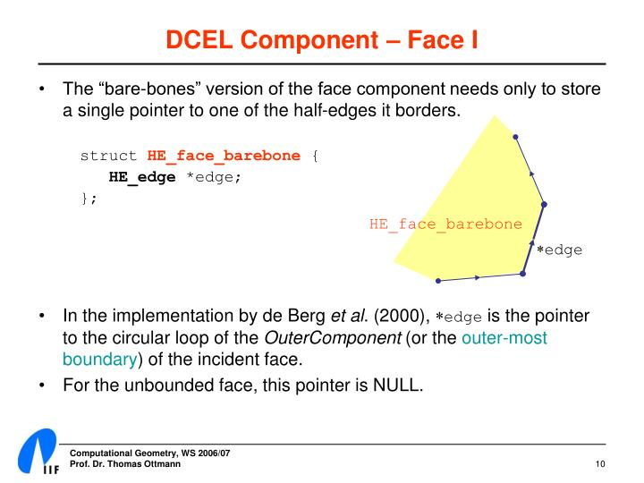 DCEL Component – Face I