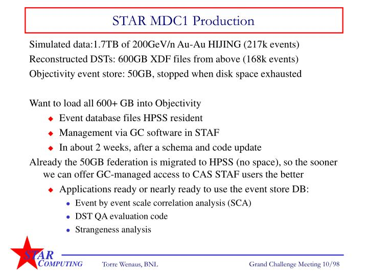 Star mdc1 production