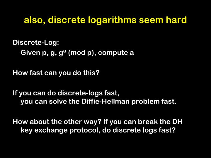 also, discrete logarithms seem hard