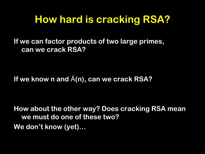 How hard is cracking RSA?