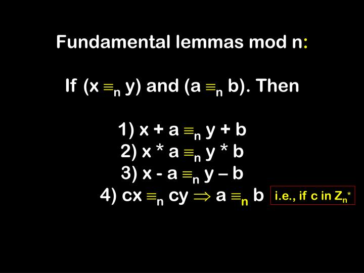Fundamental lemmas mod n