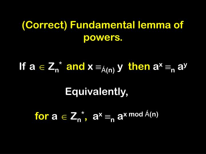 (Correct) Fundamental lemma of powers.