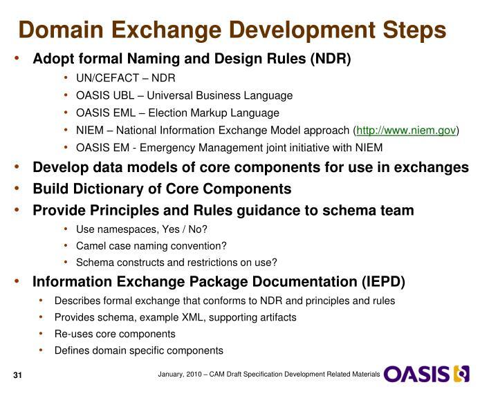 Domain Exchange Development Steps