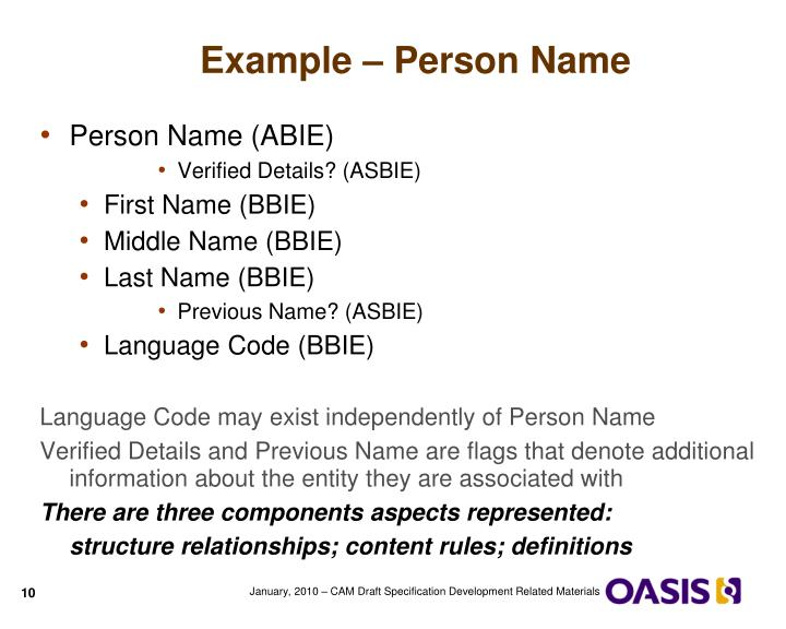 Example – Person Name