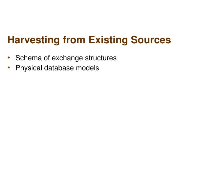 Harvesting from Existing Sources