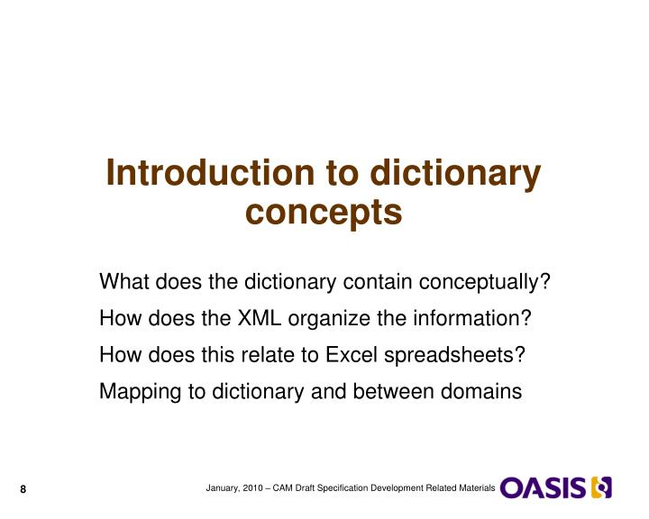 Introduction to dictionary concepts
