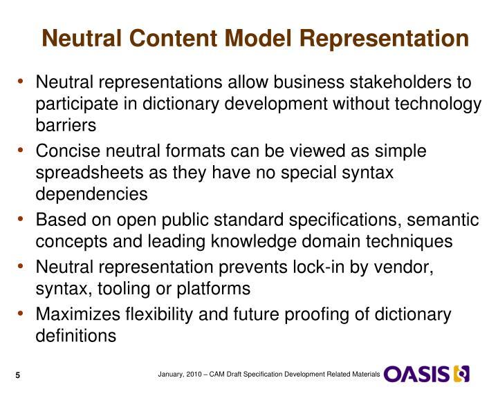 Neutral Content Model Representation