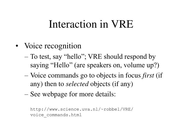 Interaction in VRE