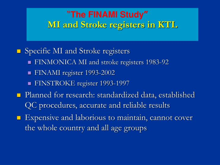 MI and Stroke registers in KTL
