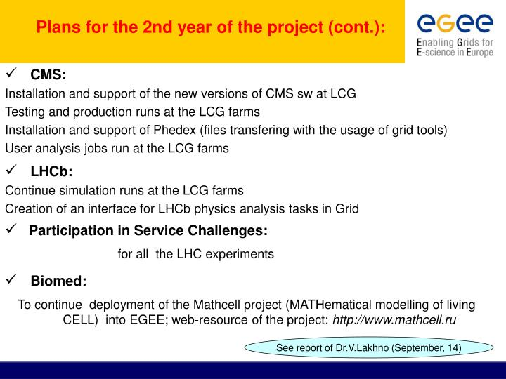 Plans for the 2nd year of the project (cont.):