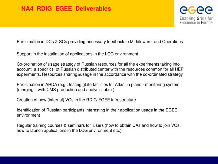 NA4  RDIG  EGEE  Deliverables