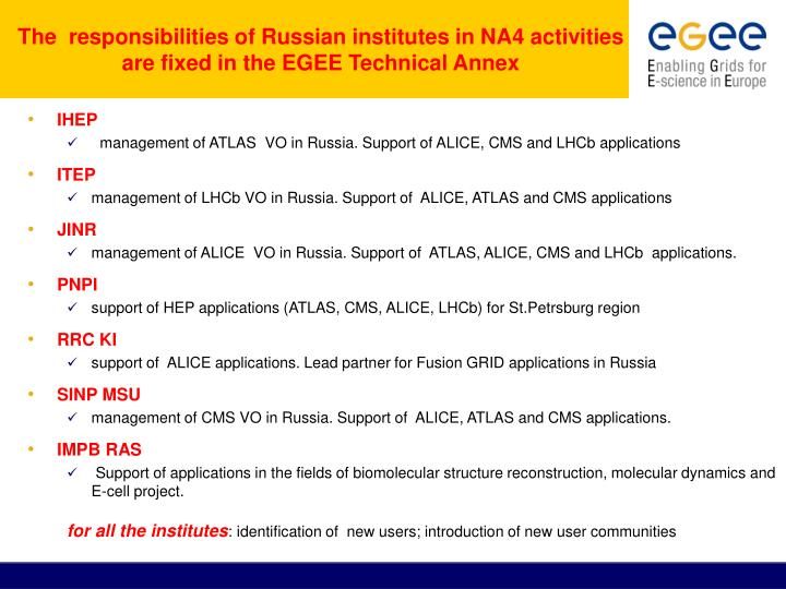 The  responsibilities of Russian institutes in NA4 activities are fixed in the EGEE Technical Annex