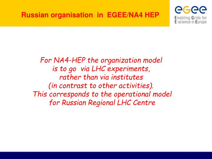 Russian organisation  in  EGEE/NA4 HEP