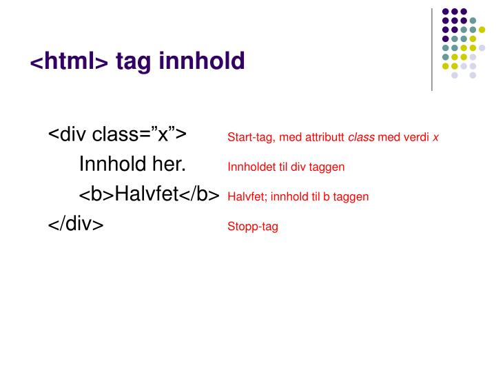 <html> tag innhold