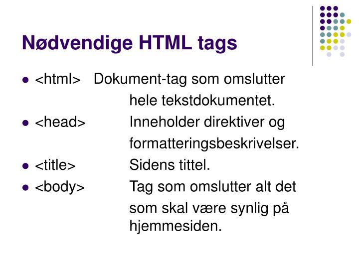 Nødvendige HTML tags