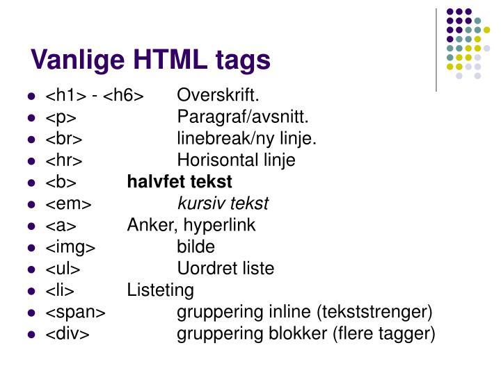 Vanlige HTML tags