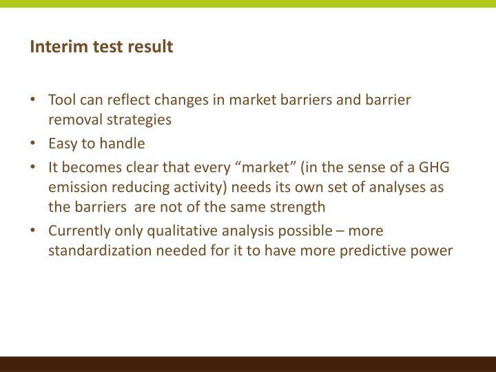Interim test result