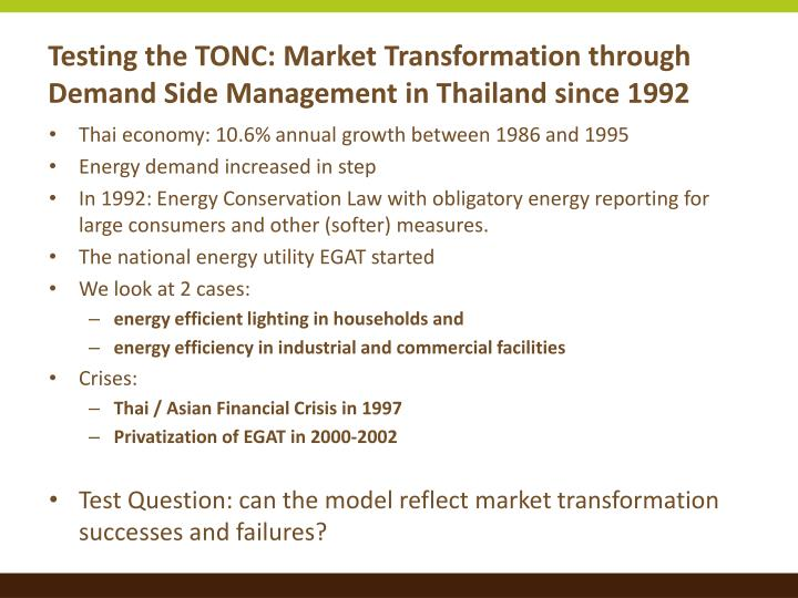Testing the TONC: Market Transformation through Demand Side Management in Thailand since 1992
