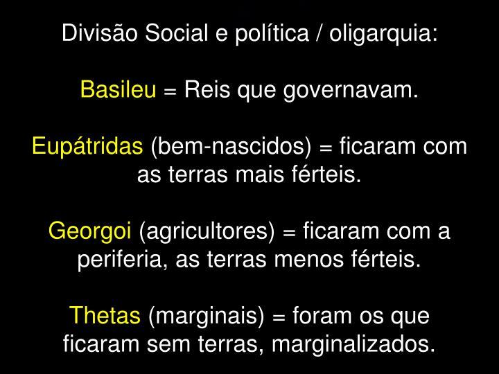 Divisão Social e política / oligarquia: