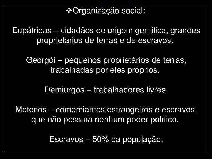 Organização social: