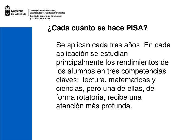 ¿Cada cuánto se hace PISA?