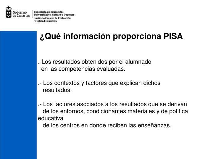 ¿Qué información proporciona PISA