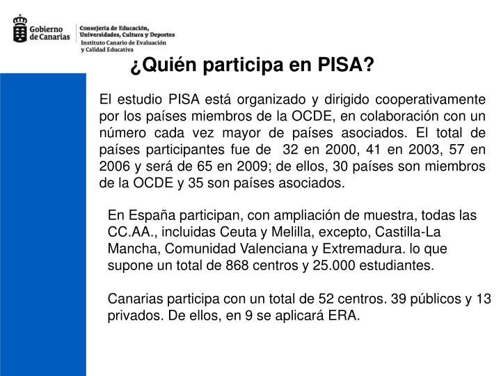¿Quién participa en PISA?
