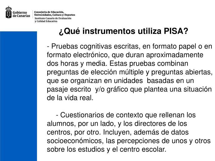 ¿Qué instrumentos utiliza PISA?