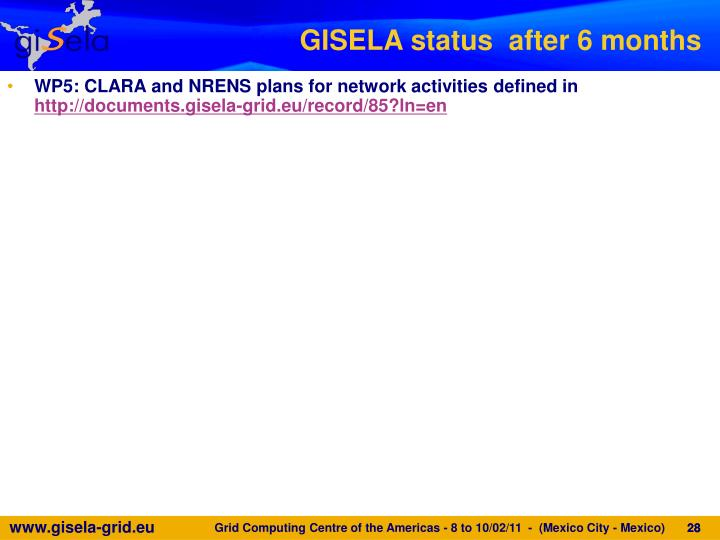 GISELA status  after 6 months