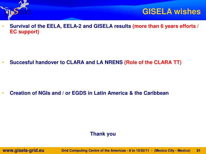 Survival of the EELA, EELA-2 and GISELA results