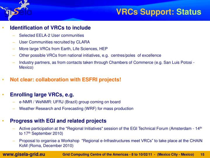 VRCs Support: