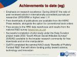 achievements to date eg1
