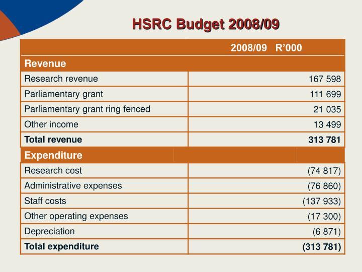 HSRC Budget 2008/09