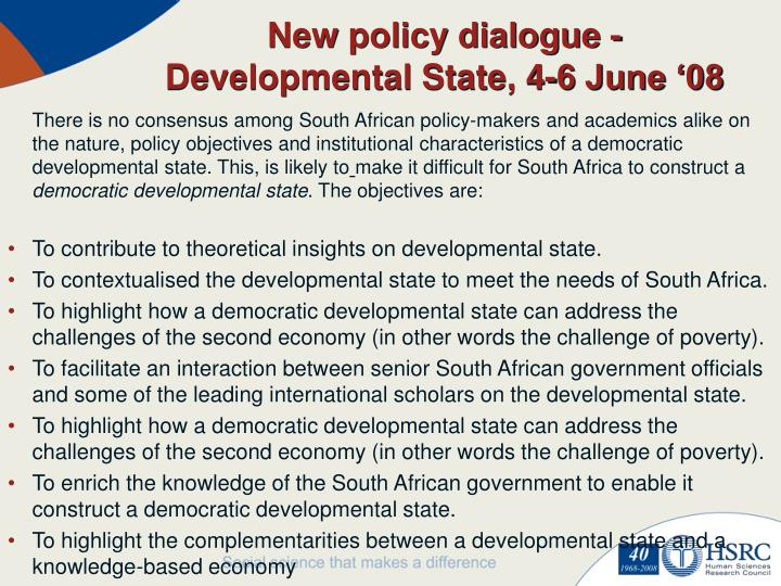 New policy dialogue - Developmental State, 4-6 June '08