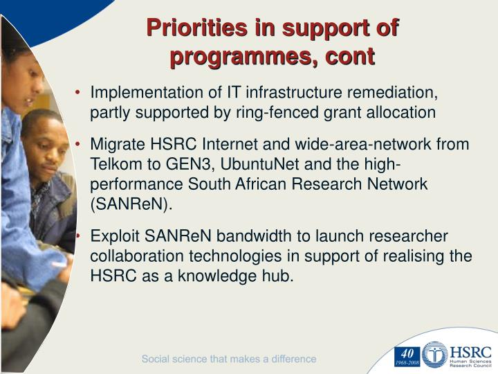 Priorities in support of programmes, cont