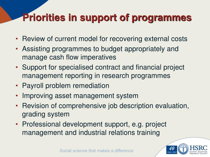 Priorities in support of programmes