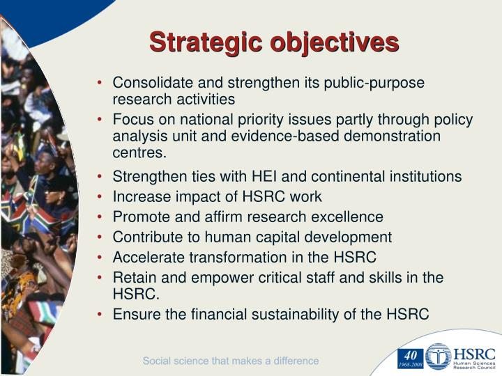 Strategic objectives