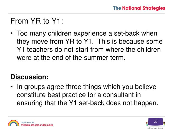 From YR to Y1: