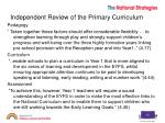 independent review of the primary curriculum