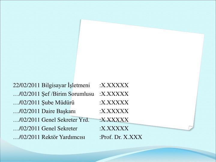 22/02/2011 Bilgisayar İşletmeni:X.XXXXX