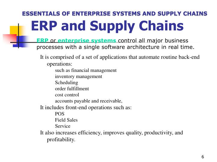 ESSENTIALS OF ENTERPRISE SYSTEMS AND SUPPLY CHAINS