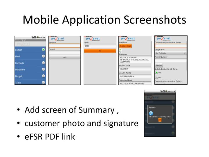 Mobile Application Screenshots
