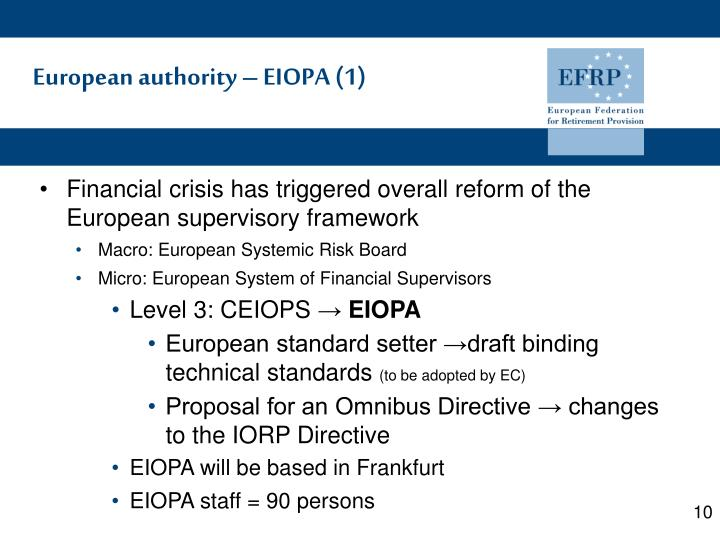 European authority – EIOPA (1)